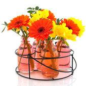 şişeleri çiçeklerle raf — Stok fotoğraf