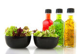 Salad and dressing — Stock Photo