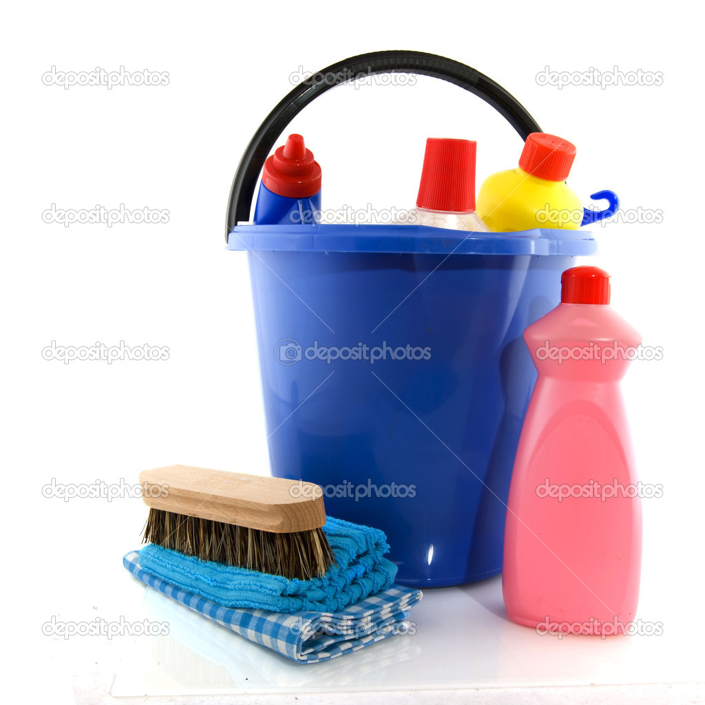 Cleaning products with bucket liquids and brush — Stock Photo #2563645