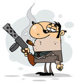 Cartoon Character Mobster Carries — Stock Photo