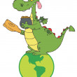 Royalty-Free Stock Photo: Dragon Leprechaun On A Globe