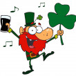 Lucky Leprechaun Dancing with a Glass — Stock Photo