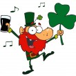Lucky Leprechaun Dancing with a Glass - Stock Photo