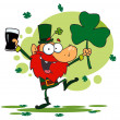 Dancing Leprechaun Holding A Shamrock — Stock Photo