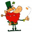 Leprechaun Playing with A Gold Coin — Stock Photo