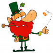 Leprechaun Playing with A Gold Coin — Stock Photo #2339817