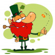 Happy Leprechaun Smoking A Pipe — Stock Photo