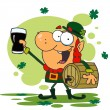Stock Photo: Lucky Leprechaun Toasting With A Glass