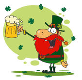Toasting Leprechaun Holding Up Beer — Stock Photo
