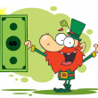 Lucky Leprechaun Holding — Stock Photo