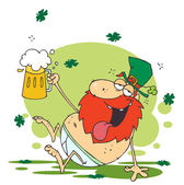 Tipsy Leprechaun Lying Naked With Beer — 图库照片