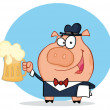 Happy  waiter pig with beer - Stock Photo