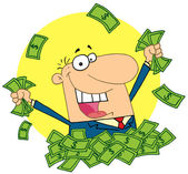 Happy salesman playing in a pile of mone — Stock Photo