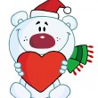 Sweet Christmas Polar Bear Holding A Heart - Stock Photo