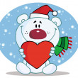 Christmas Polar Bear Holding A Heart - Stock Photo