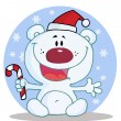 Polar Bear Holding A Candy Cane In The Snow — 图库照片