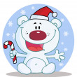 lední medvěd na sněhu drží candy cane — Stock fotografie