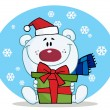 Christmas Polar Bear Holding — Foto de Stock