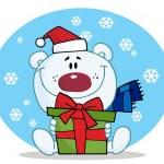 Christmas Polar Bear Holding — Stock Photo