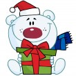 Christmas Polar Bear Holding A Gift — Stock Photo