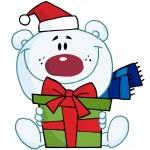 Christmas Polar Bear Holding A Gift — Stock Photo