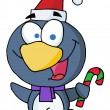Penguin Holding A Candy Cane — Stock Photo