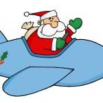Waving Santa Claus Flying — Stock Photo