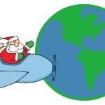 Santa Claus Flying His Plane — Stock Photo