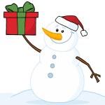sněhulák drží vánoční dárek — Stock fotografie
