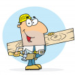 Caucasian Worker Man A Wood Plank — Stock Photo