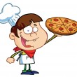 Boy Chef Showing A Delicious Pizza — Stock Photo #2583474