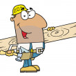 Stock Photo: Hispanic Construction Worker Carrying Wood Board