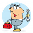 Plumber Man Carrying A Red Wrench And Tool Box - Stock Photo