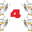 Number Four With Calling Birds Holding A Cell Phones — Stock Photo