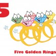 Five golden rings with text — Stock Photo #2584455