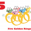 Five golden rings with text — Stock Photo