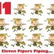 Stock Photo: Eleven pipers piping with text