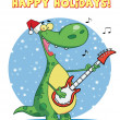 Dinosaur plays guitar — Stock Photo