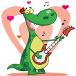 Dinosaur plays guitar with heart background - Stock Photo