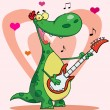 Happy dinosaur plays guitar with heart background - ストック写真