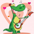 Happy dinosaur plays guitar with heart background — Stock Photo #2584548