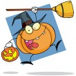 Cartoon character halloween pumkin with — Stock Photo