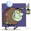 Character halloween igor with lantern - Stock Photo