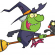 Stock Photo: Cartoon character harrison rode broomstick with cat