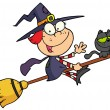 Cartoon character halloween little witch — Stock Photo