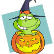 Cartoon character halloween frog - Stock Photo