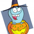 Cartoon character halloween ghost — Stock Photo