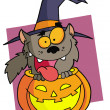 Cartoon character halloween werewolf — Stock Photo