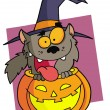 Cartoon character halloween werewolf - Stock Photo