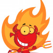 Little devil with pitchfork In Flames — Foto de Stock